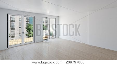 Spacious bright unfurnished room with large balcony glass door. 3d rendering