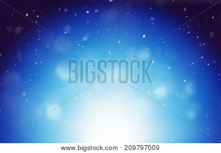 Cool blue winter background with a bokeh of falling snowflakes over a bright white graduated highlight with copy space for seasonal greetings. 3d rendering