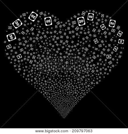 Diploma fireworks with heart shape. Vector illustration style is flat white iconic symbols on a black background. Object salute made from scattered pictographs.