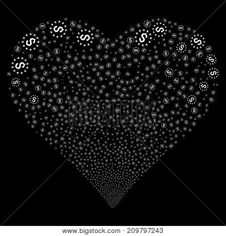 Dollar Stars fireworks with heart shape. Vector illustration style is flat white iconic symbols on a black background. Object heart created from random design elements.