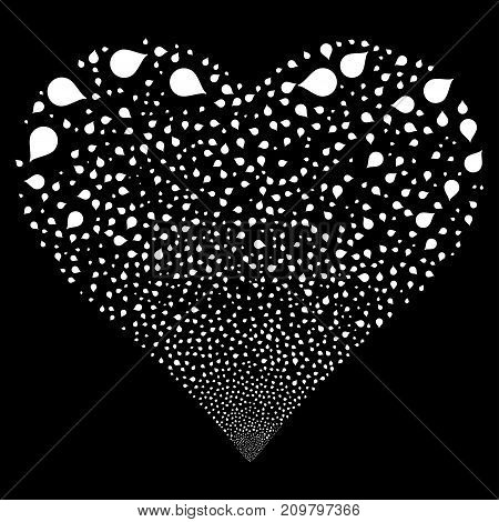 Drop fireworks with heart shape. Vector illustration style is flat white iconic symbols on a black background. Object valentine heart combined from confetti design elements.