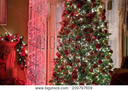 Christmas decorations with tree and column