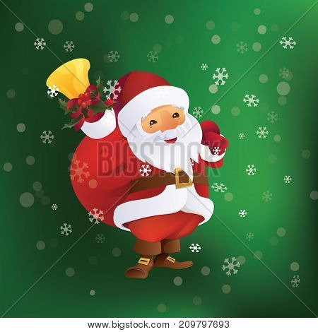 Christmas greeting card design with Santa Claus with gift bag and bell in hand.