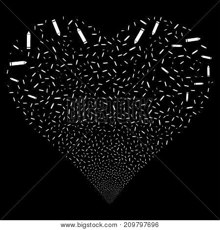 Edit Pencil fireworks with heart shape. Vector illustration style is flat white iconic symbols on a black background. Object heart constructed from random symbols.
