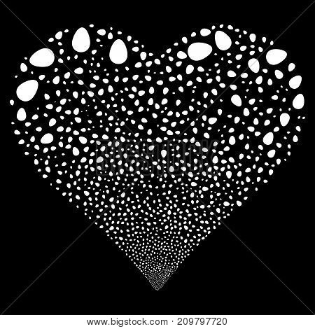 Egg fireworks with heart shape. Vector illustration style is flat white iconic symbols on a black background. Object valentine heart organized from confetti symbols.