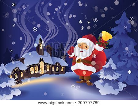 Christmas greeting card design with calm winter snowy night in Christmas village and pine trees on background. Santa Claus with gift bag and bell in hand.