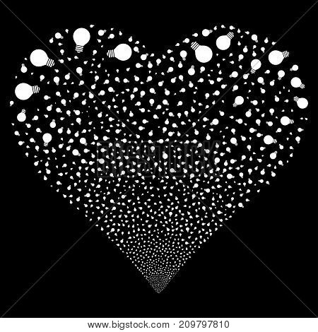 Electric Bulb fireworks with heart shape. Vector illustration style is flat white iconic symbols on a black background. Object love heart constructed from confetti icons.