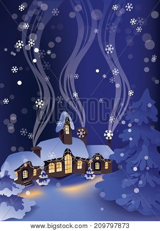 Christmas greeting card design with calm winter snowy night in Christmas village and pine trees on background.