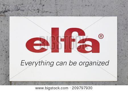 Meyzieu, France - June18, 2017: Elfa logo on a wall. Elfa is a storage solution company that is headquartered in Malmo, Sweden