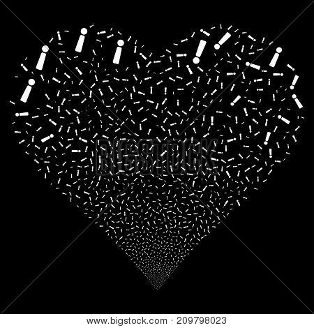 Exclamation Sign fireworks with heart shape. Vector illustration style is flat white iconic symbols on a black background. Object heart combined from confetti pictograms.
