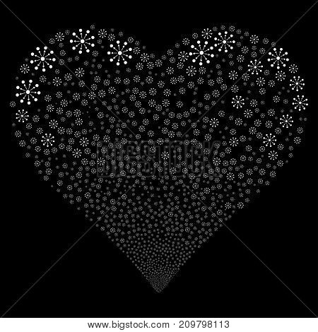 Expanse fireworks with heart shape. Vector illustration style is flat white iconic symbols on a black background. Object salute made from random pictograms.