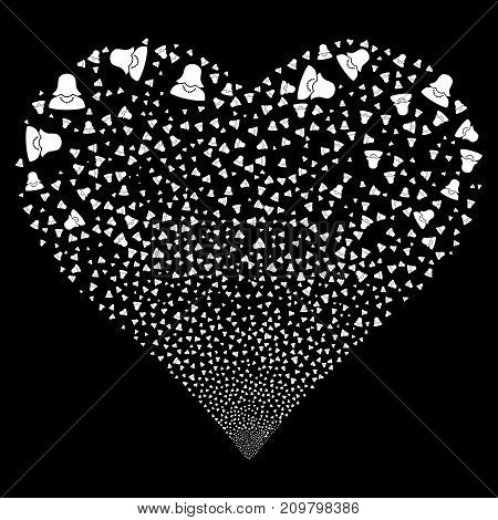 Female fireworks with heart shape. Vector illustration style is flat white iconic symbols on a black background. Object salute created from confetti icons.