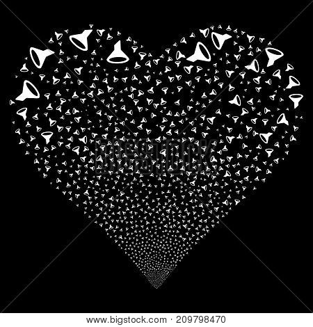 Filter fireworks with heart shape. Vector illustration style is flat white iconic symbols on a black background. Object salute combined from scattered design elements.