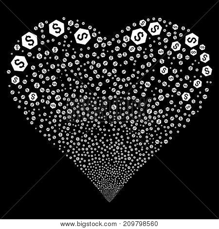 Finance fireworks with heart shape. Vector illustration style is flat white iconic symbols on a black background. Object valentine heart done from random pictographs.