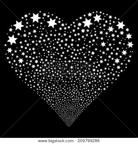 Fireworks Star fireworks with heart shape. Vector illustration style is flat white iconic symbols on a black background. Object love heart organized from scattered design elements.