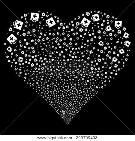 First Aid Kit fireworks with heart shape. Vector illustration style is flat white iconic symbols on a black background. Object valentine heart made from scattered design elements.