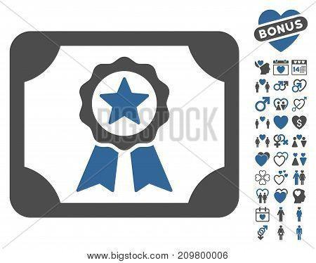 Certificate pictograph with bonus lovely pictograms. Vector illustration style is flat iconic cobalt and gray symbols on white background.
