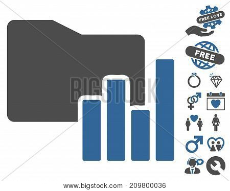 Charts Folder pictograph with bonus dating symbols. Vector illustration style is flat iconic cobalt and gray symbols on white background.