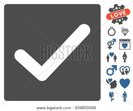 Check icon with bonus amour pictograph collection. Vector illustration style is flat iconic cobalt and gray symbols on white background.