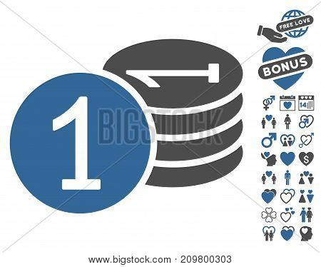Coins pictograph with bonus love symbols. Vector illustration style is flat iconic cobalt and gray symbols on white background.