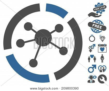 Connections Diagram icon with bonus decorative design elements. Vector illustration style is flat iconic cobalt and gray symbols on white background.
