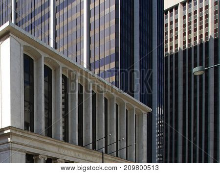 Abstract image of modern and historical forms of buildings. Denver, Colorado.