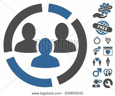 Demography Diagram pictograph with bonus lovely icon set. Vector illustration style is flat iconic cobalt and gray symbols on white background.