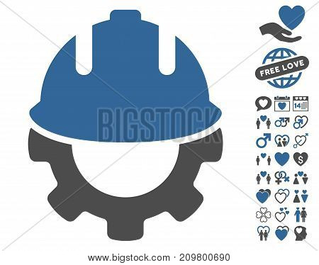 Development pictograph with bonus dating graphic icons. Vector illustration style is flat iconic cobalt and gray symbols on white background.