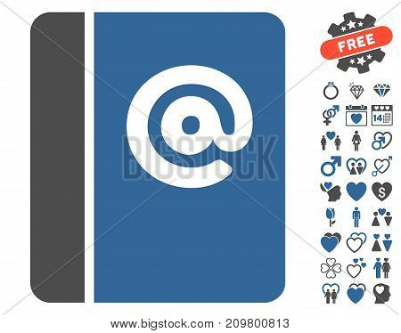 Emails pictograph with bonus lovely pictograms. Vector illustration style is flat iconic cobalt and gray symbols on white background.