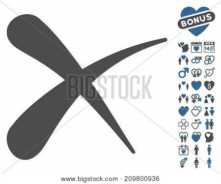 Erase icon with bonus marriage design elements. Vector illustration style is flat iconic cobalt and gray symbols on white background.