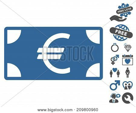 Euro Banknote pictograph with bonus valentine clip art. Vector illustration style is flat iconic cobalt and gray symbols on white background.