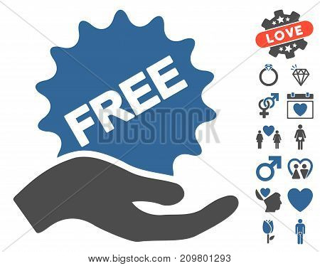 Free Present pictograph with bonus dating symbols. Vector illustration style is flat iconic cobalt and gray symbols on white background.