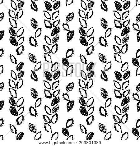 Abstract seamless hand drawn pattern. Monochrome wax crayon drawn background. Modern grunge texture.