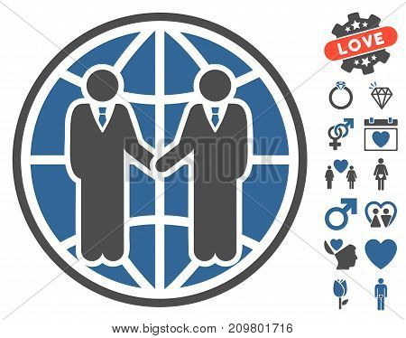 Global Partnership icon with bonus romantic symbols. Vector illustration style is flat iconic cobalt and gray symbols on white background.