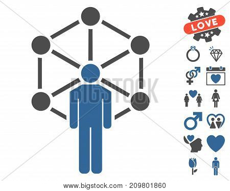 Human Network pictograph with bonus lovely graphic icons. Vector illustration style is flat iconic cobalt and gray symbols on white background.
