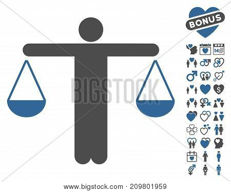 Judge Person icon with bonus decoration symbols. Vector illustration style is flat iconic cobalt and gray symbols on white background.