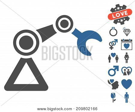 Manipulator Equipment pictograph with bonus decorative pictograms. Vector illustration style is flat iconic cobalt and gray symbols on white background.