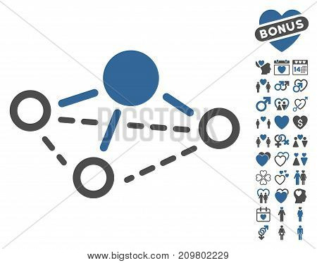 Molecule icon with bonus lovely symbols. Vector illustration style is flat iconic cobalt and gray symbols on white background.