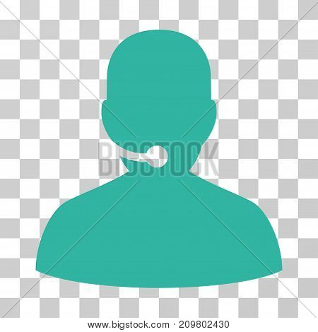Call Center icon. Vector illustration style is flat iconic symbol, cyan color, transparent background. Designed for web and software interfaces.