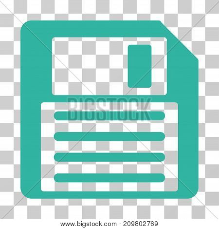 Floppy icon. Vector illustration style is flat iconic symbol, cyan color, transparent background. Designed for web and software interfaces.