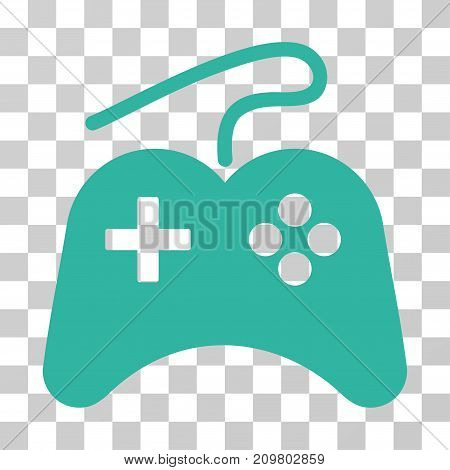 Gamepad icon. Vector illustration style is flat iconic symbol, cyan color, transparent background. Designed for web and software interfaces.