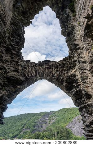 View of the ruined entrance to Dolbadarn Castle a 13th century castle inLlanberis North Wales Wales