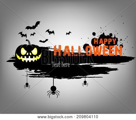 Banner Happy Halloween On Isolated Background