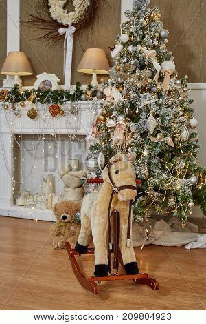 Room decorated to christmas celebration. Christmas fir tree.