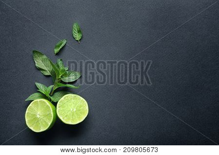 Lime and mint on dark grey background