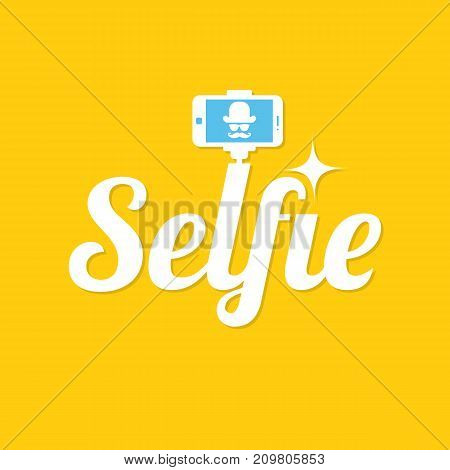 Taking selfie photo. Selfie stick design concept. Selfie label on yellow background. Vector illustration.
