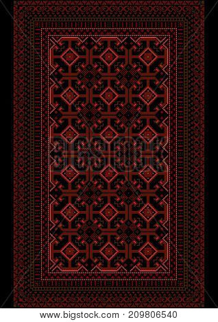 Showy motley carpet with a burgundy pattern on a black background