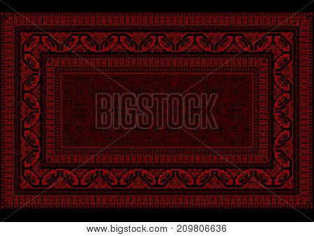 Design luxurious carpet with bright border in red and burgundy shades on a black background