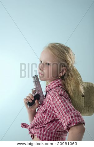 A girl with a gun