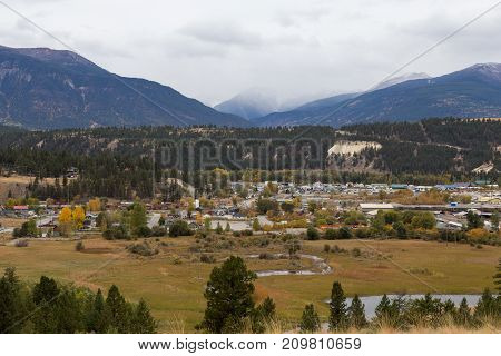 View of the town of Invermere B.C. Canada.